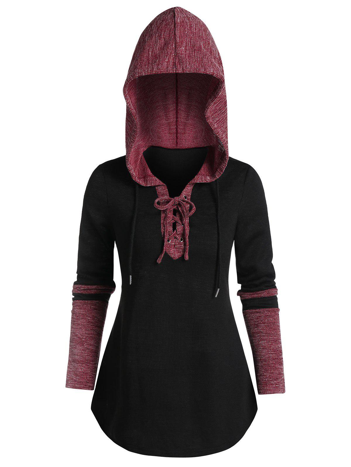 Buy Ribbed Contrast Lace-up Curved Hem Hoodie
