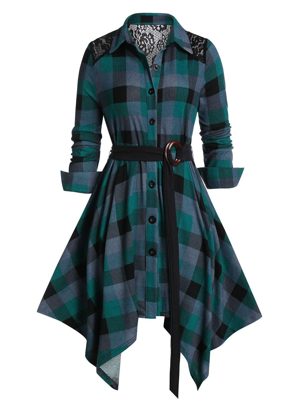 Store Plus Size Plaid Lace Panel Handkerchief Dress