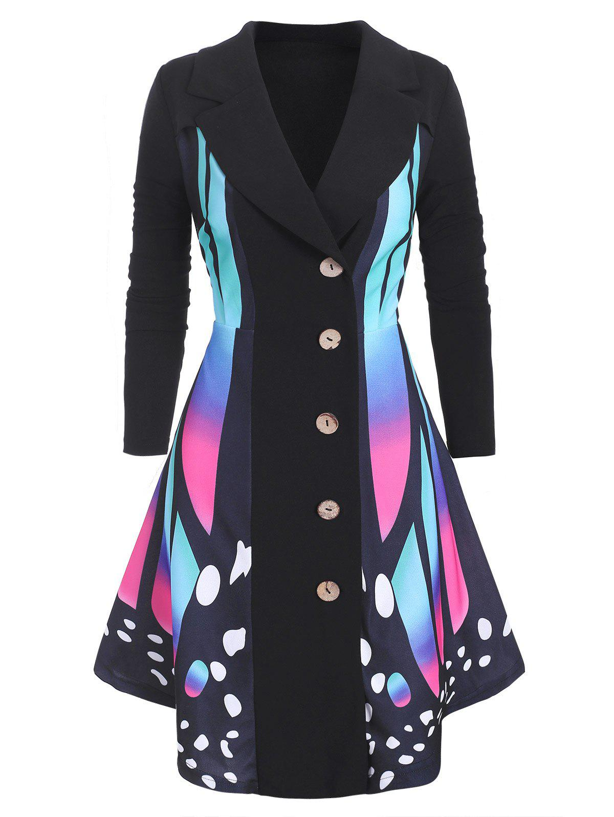 Latest Plus Size Butterfly Print Asymmetrical Coat