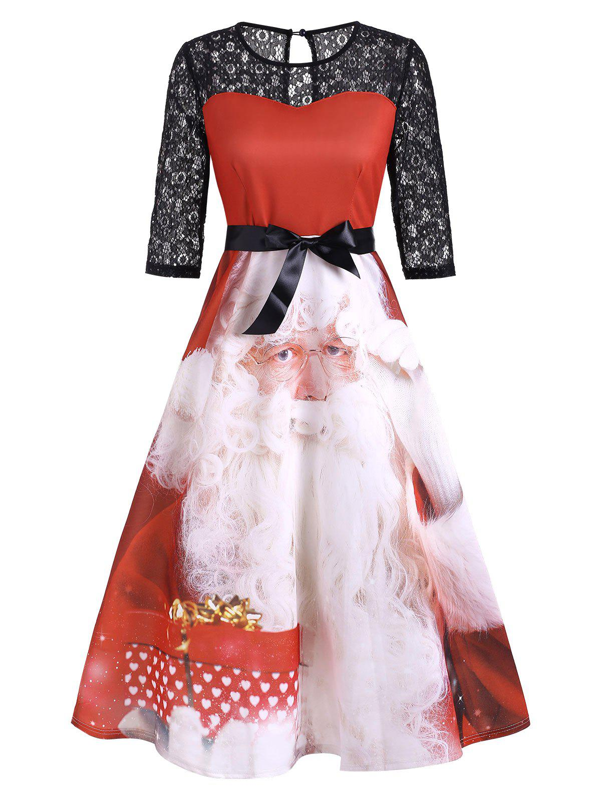 Discount Christmas Santa Claus Lace Panel Keyhole Midi Dress