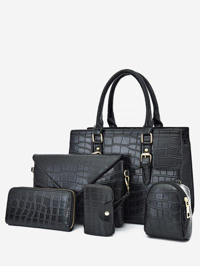 Outfit 5 Piece Plain Animal Embossed Tote Bag Set