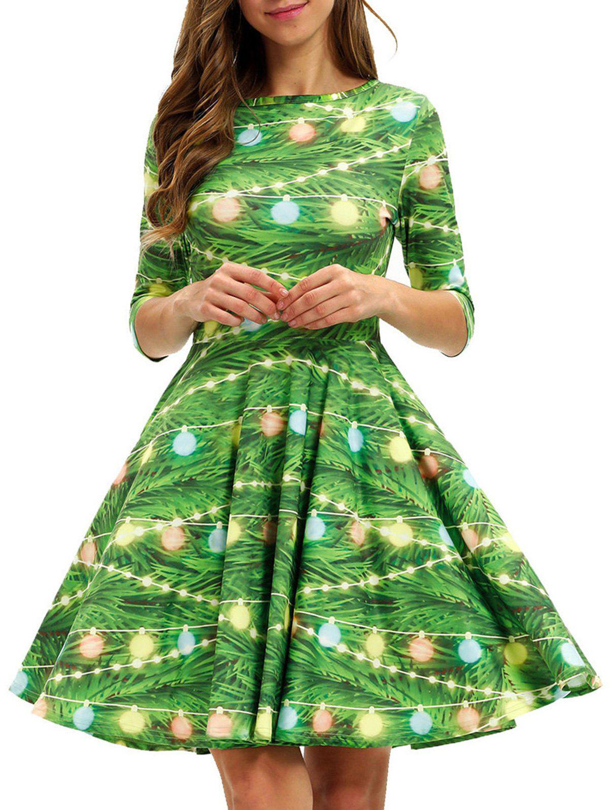 Affordable Christmas Tree Round Neck A Line Dress