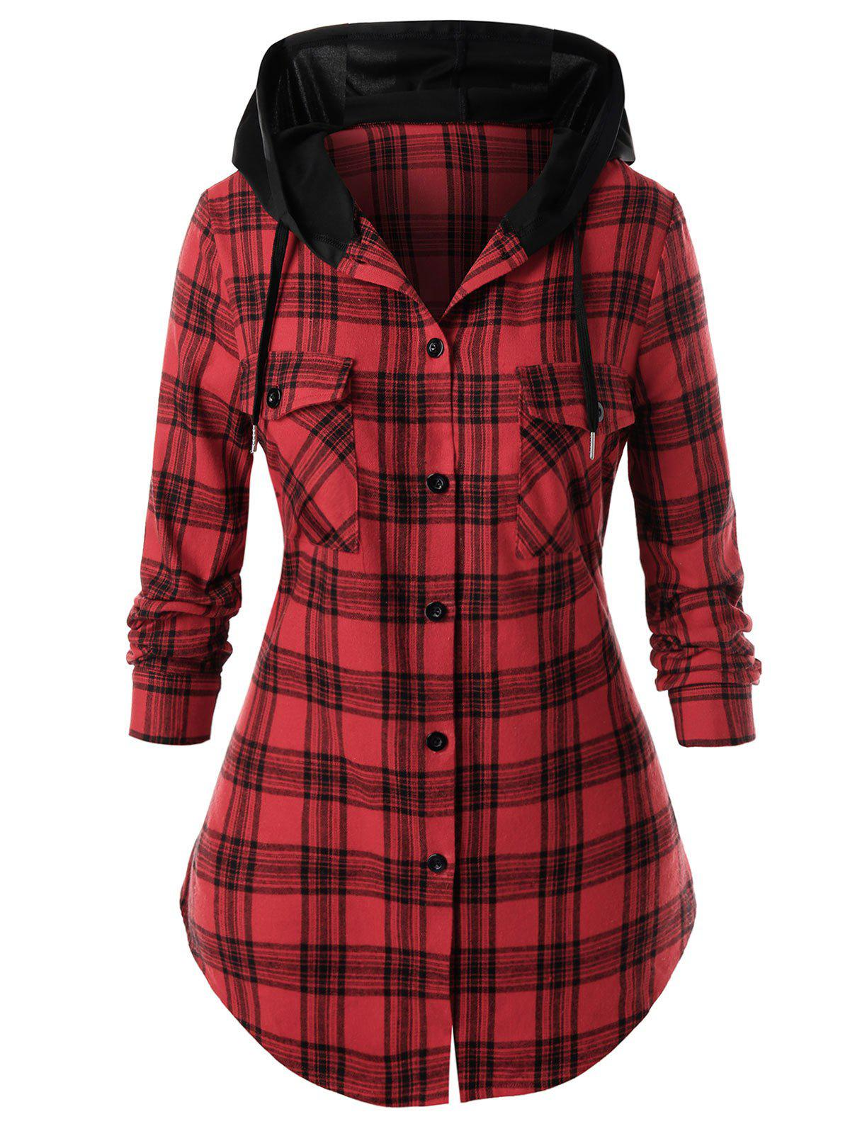 Sale Plus Size Plaid Hooded Curved Pocket Tunic Shirt