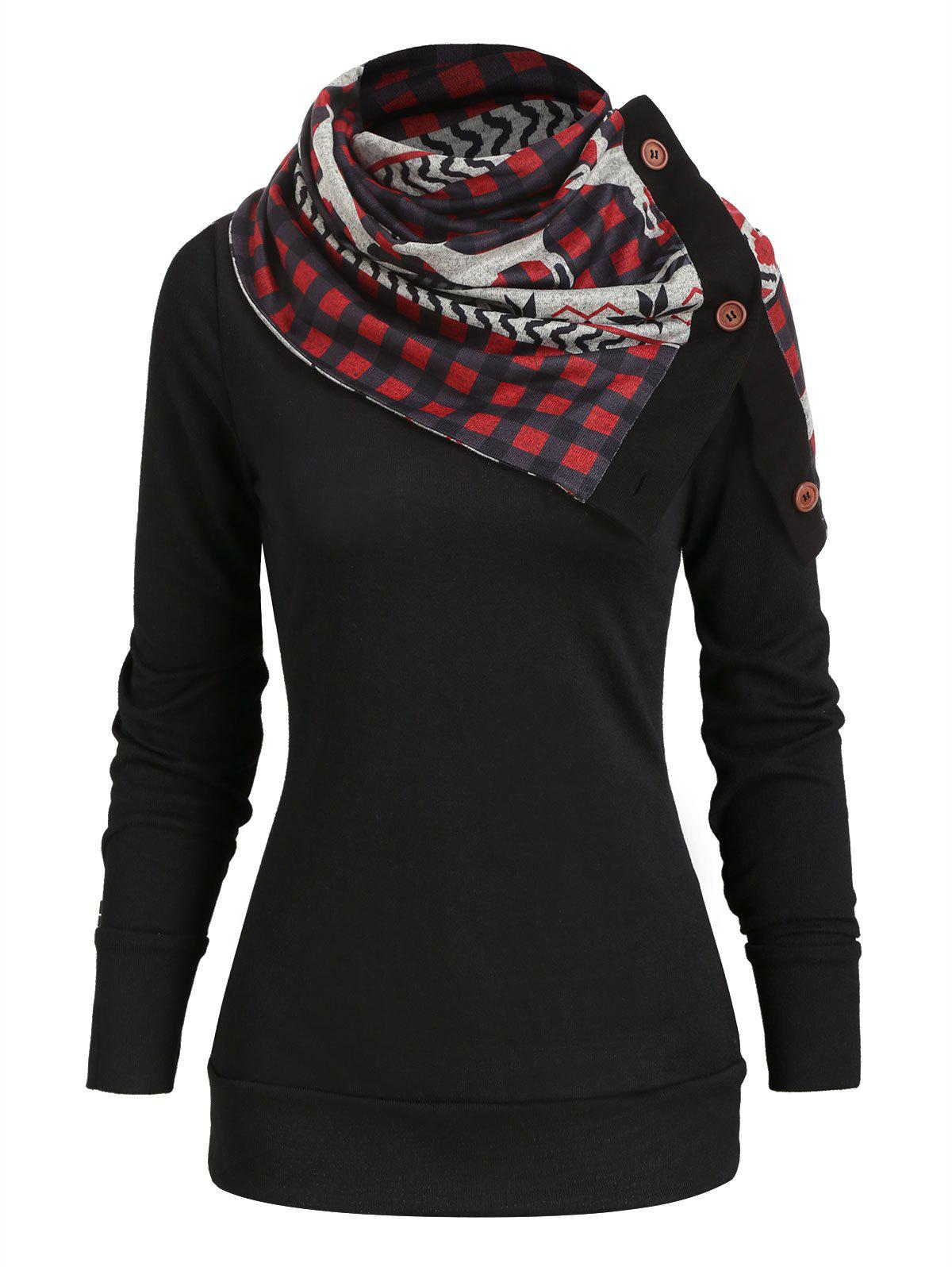 Discount Christmas Plaid Elk Knitwear with Scarf