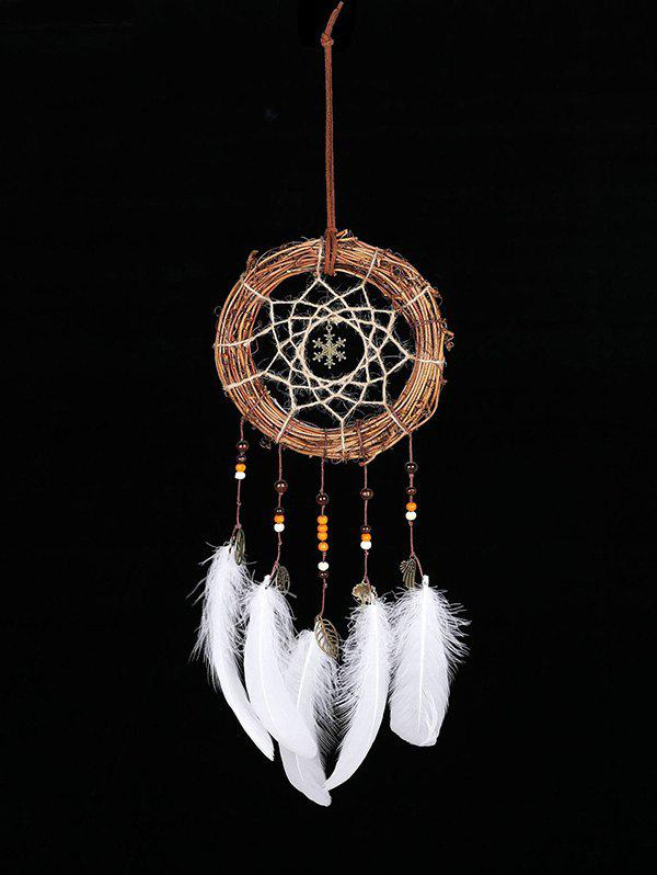 Forme de flocon de neige de Noël à la main Indian Dream Catcher Blanc Sans lumières