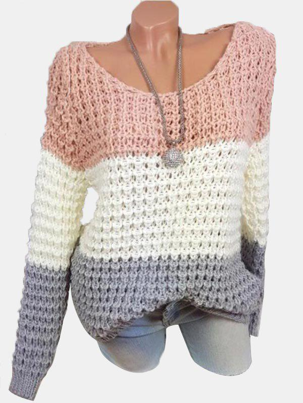 Plus Size Colorblock Chunky Sweater Rose  2X