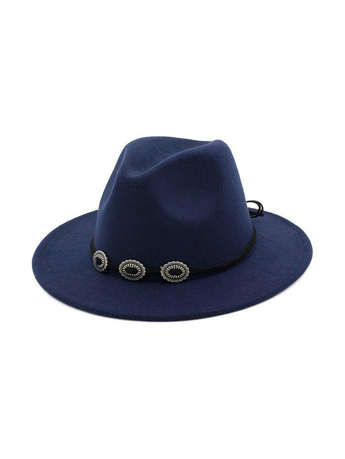 Outfit Button Decorated Woolen Solid Winter Jazz Hat