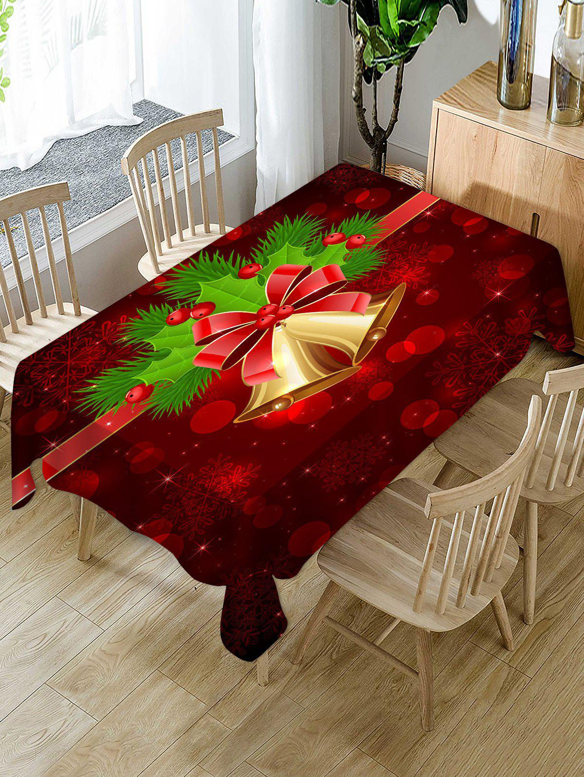 Shop Christmas Bells Berry Print Waterproof Fabric Tablecloth