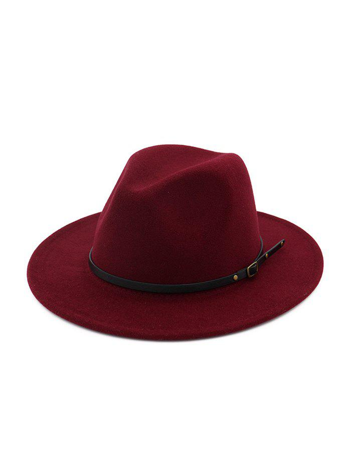 Trendy Belt Decorated Woolen Solid Winter Jazz Hat
