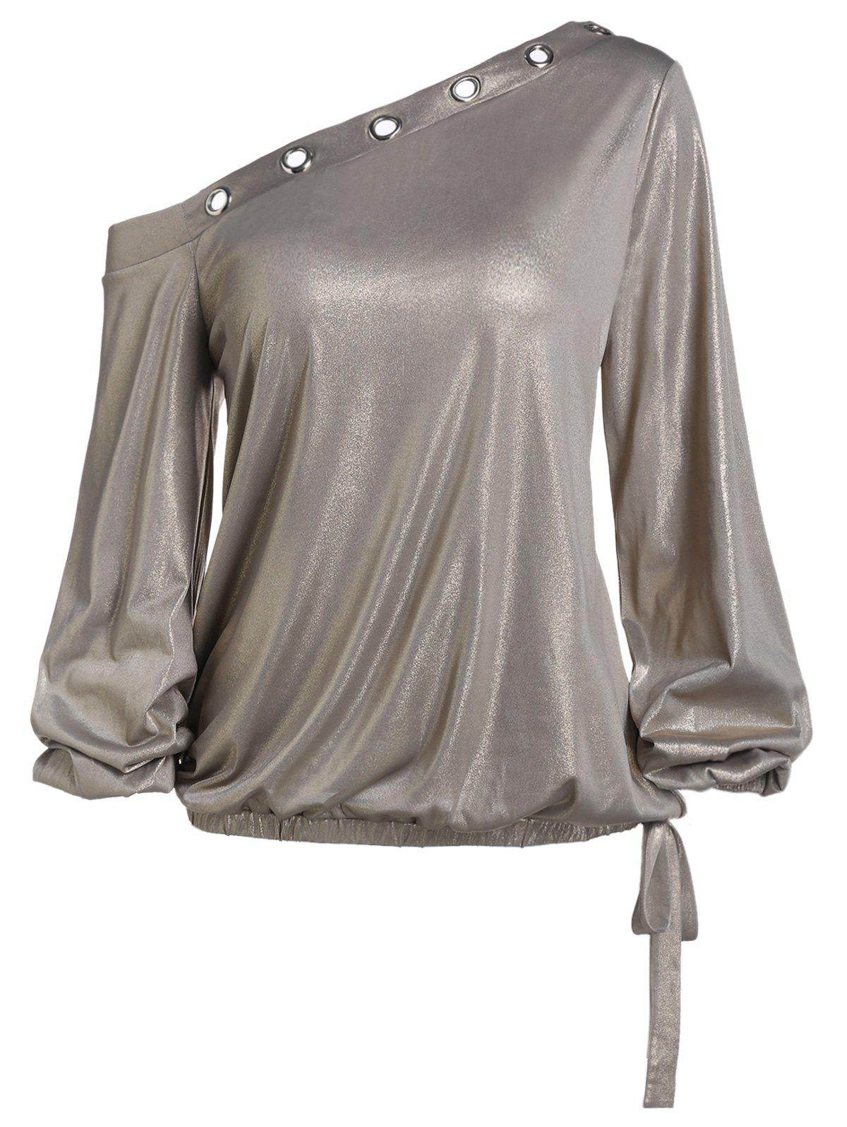 Best Skew Neck Lantern Sleeve Sparkle T Shirt