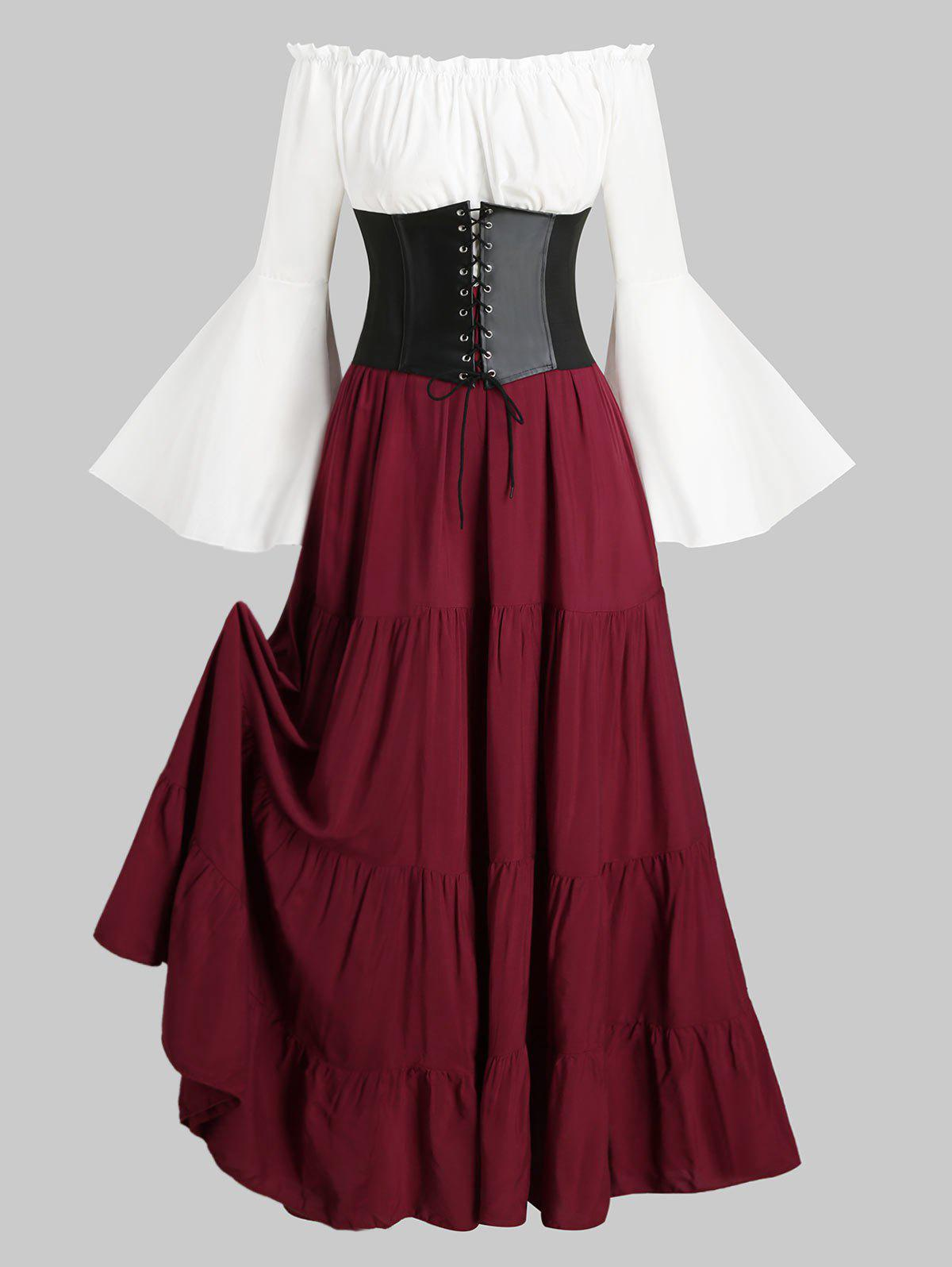 Sale Lace-up Corset Belt Vintage Renaissance Medieval Bell Sleeve Dress