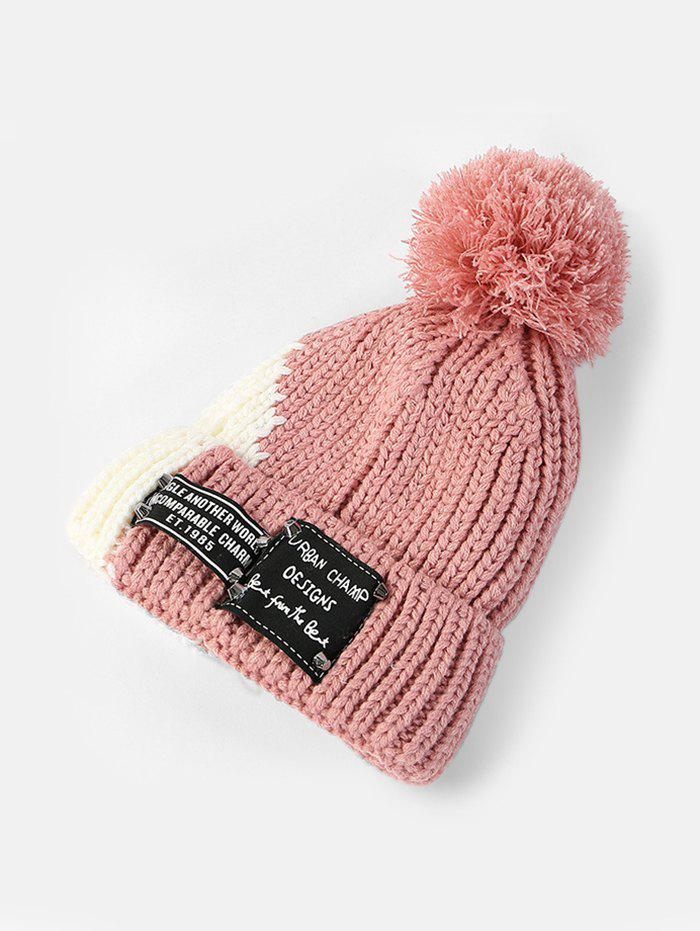 Fashion Winter Colorblock Bobble Hat