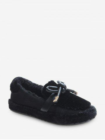 Bow Decorated Slip On Fuzzy Shoes - BLACK - EU 37