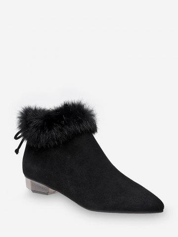 Fuzzy Collar Pointed Toe Fleece Ankle Boots
