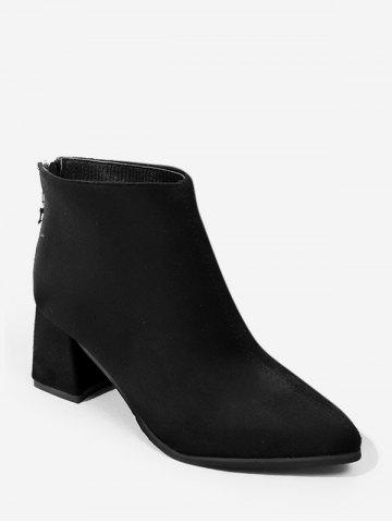 Crown Pull Pointed Toe Suede Ankle Boots
