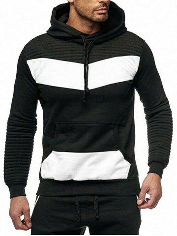 Color Spliced Drape Panel Casual Hoodie - from $18.43