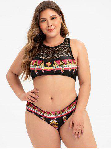 Plus Size Feather Geometry Lace Panel Bikini Swimsuit