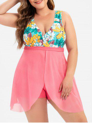 Plus Size Plunge Overlay Floral One-piece Swimsuit