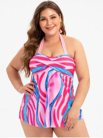 Plus Size Halter Tie Dye Backless Tankini Swimsuit