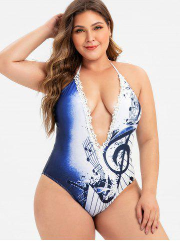 Halter Lace Trim Musical Note Printed Plus Size Swimsuit