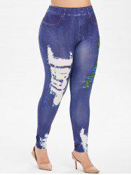 Floral Embroidered Applique 3D High Waisted Plus Size Jeggings -