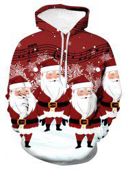 Christmas Music Santa Graphic Front Pocket Hoodie -