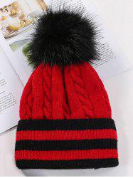 Striped Braided Fleece Bobble Knitted Hat -