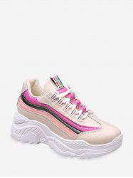 Color-blocking Striped Dad Sneakers -