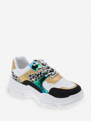Leopard Mix Material Lace Up Dad Sneakers -