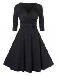 Plus Size Fit And Flare V Neck Ruched Dress -