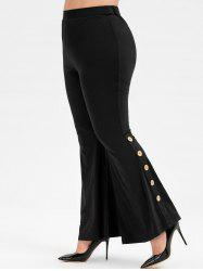 Plus Size High Rise Buttons Flare Pants -
