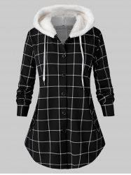 Plus Size Plaid Fluffy manteau à capuchon courbé Tunique -