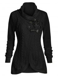 Bouton Griffe Casual Cowl Neck Cardigan -