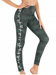 Musical Note High Rise Skinny Leggings -