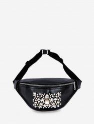 Pocket Zipper Pearl Embellished Chest Bag -