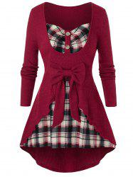 Plus Size Bowknot Plaid Overlap Knit Curved Tunic Tee -