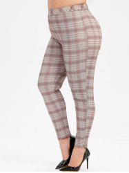 Plus Size Plaid High Waist Skinny Pants -