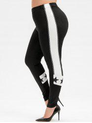 Plus Size Contrast Star Taped High Waisted Leggings -