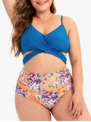 Plus Size Floral Ruched Knot Bikini Swimsuit -