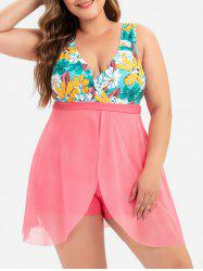 Plus Size Plunge Overlay Floral One-piece Swimsuit -