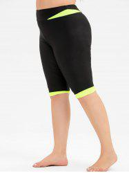 Plus Size High Waist Neon Swim Shorts -