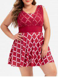 Plus Size Argyle Print Cinched Skirted One-piece Swimsuit -