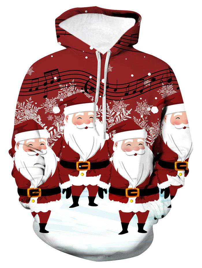 Hot Christmas Music Santa Graphic Front Pocket Hoodie