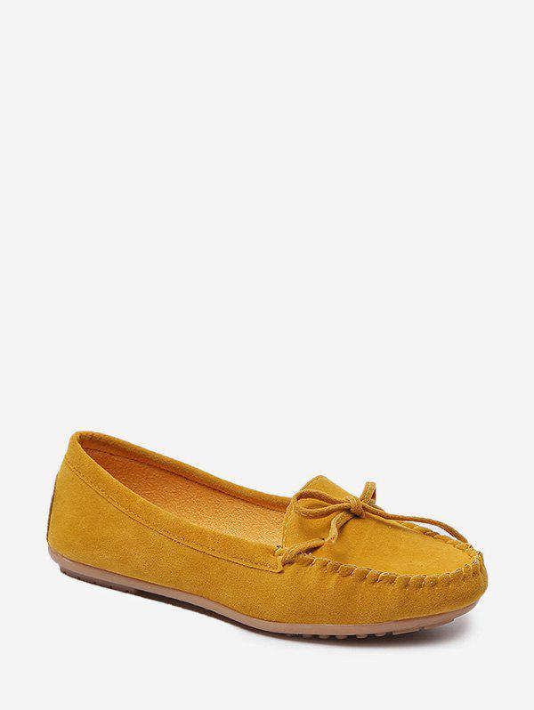 Chic Bowknot Embellished Suede Doug Shoes