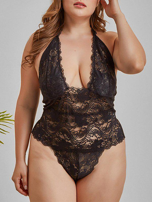 Buy Halter Scalloped Trim Lace Plus Size Lingerie Teddy