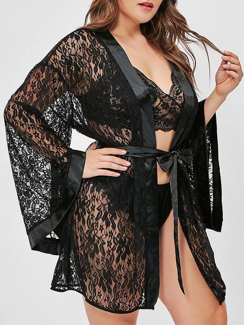 Unique Flare Sleeve Belted T Back Lace Plus Size Robe