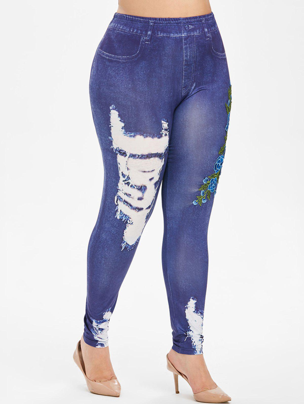 Sale Floral Embroidered Applique 3D High Waisted Plus Size Jeggings