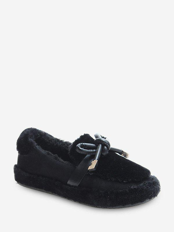 Shops Bow Decorated Slip On Fuzzy Shoes