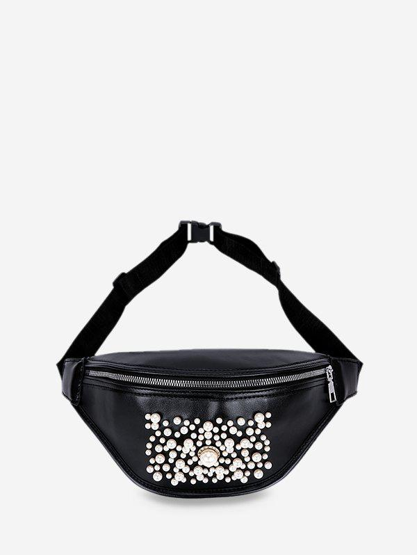 Best Pocket Zipper Pearl Embellished Chest Bag
