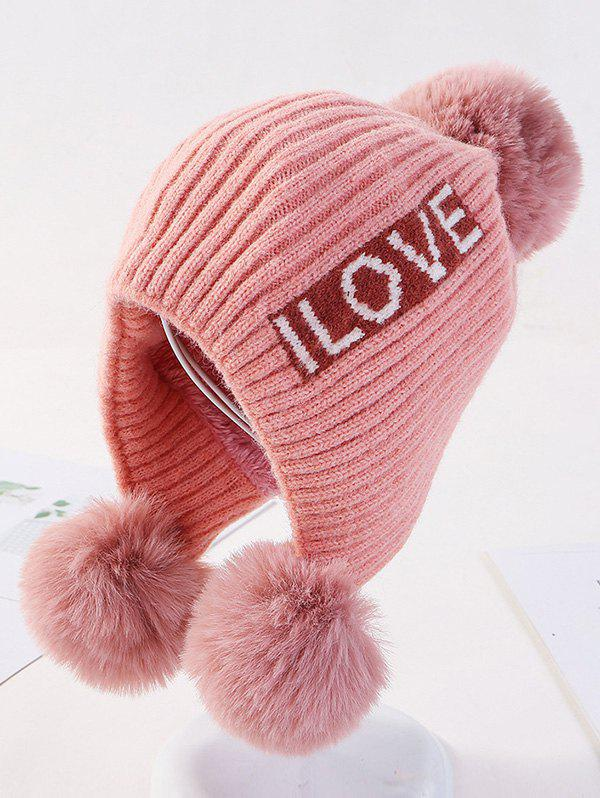 Outfit Winter Letters Ear Bobble Pendant Knitted Hat